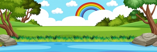 Horizon nature scene or landscape countryside with forest view and rainbow in blank sky at daytime