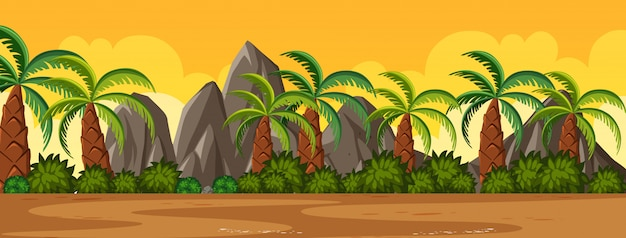 Horizon nature scene or landscape countryside with palm trees view and yellow sunset sky view