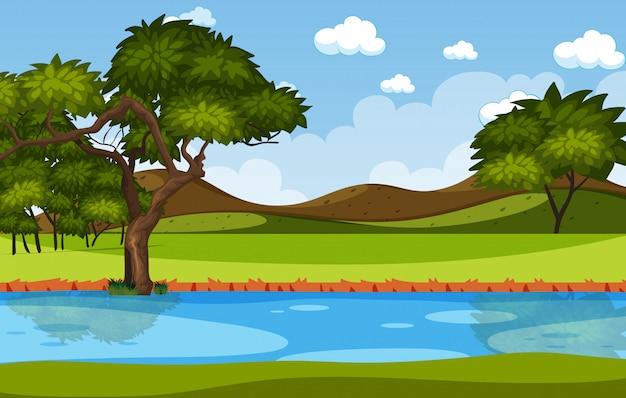地平線の自然シーンや森の景色と昼間の空の風景と田舎の風景
