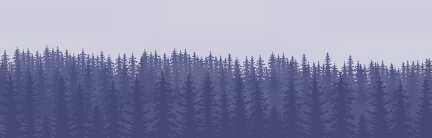 진한 파란색 톤의 침엽수 나무 언덕의 수평 추상 배너.