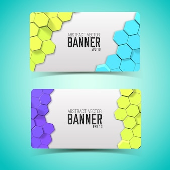 Horizontal abstract banners with colorful hexagons