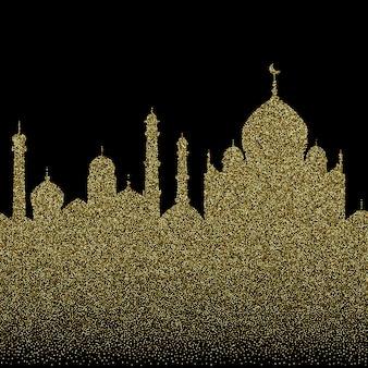 수평 추상 골드 반짝이 아랍 도시 원활한 패턴