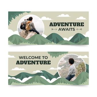 Banner di avventura orizzontale con foto