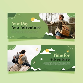 Horizontal adventure banners set with photo