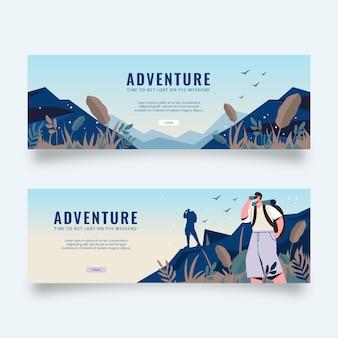 Horizontal adventure banners set