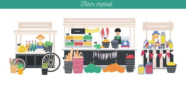 농장 시장 테마, 유기농 식품에 대한 수평 광고 배너. 다른 공급 업체, 지역 상점. 농부들은 신선한 제품, 야채, 과일, 빵, 음료를 판매합니다. 다채로운 벡터 일러스트 레이 션.