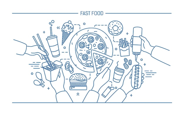 Horizontal advertising banner with fastfood. composition with products hot dog with mustard, pizza, noodles, donut, ice cream, french fries, burger, ola. monochrome vector lineart illustration.