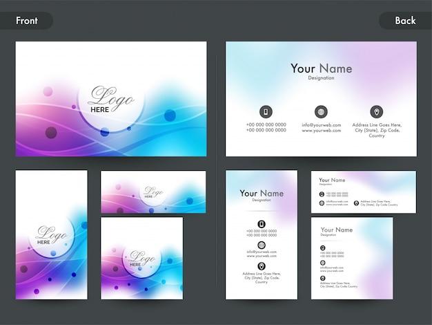 Горизонтальная и вертикальная визитная карточка или визитная карточка. Premium векторы