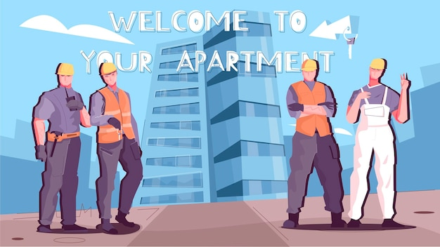 Vendita appartamento orizzontale con gruppo di lavoratori e benvenuto nel titolo dei tuoi appartamenti
