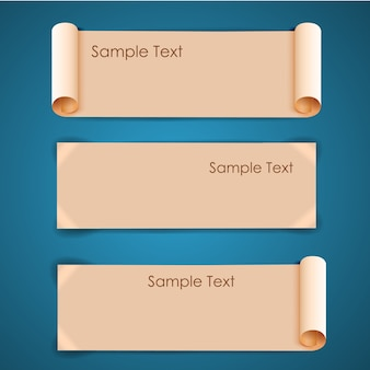 Horizontal architectural blank beige sheets of paper banners set