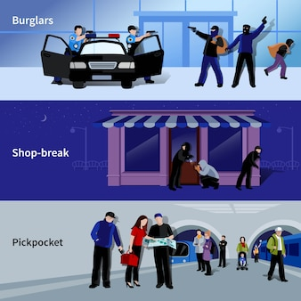 Horizontal armed burglars and criminals committing thefts in bank shop and metro