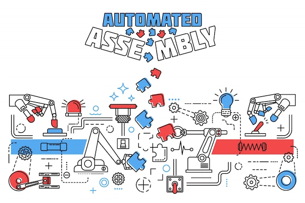 Horizontal assembly concept with assembly of structures pieces of the puzzle and colored title
