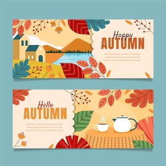 Horizontal autumn banners set
