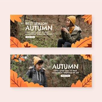 Banner orizzontale di vendita autunnale con foto