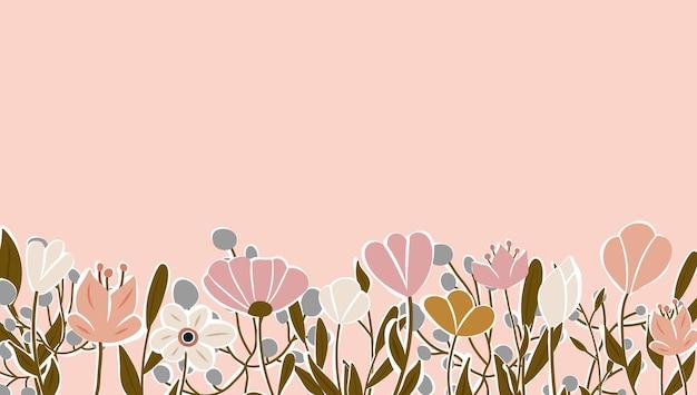 피는 꽃과 잎 테두리로 장식된 수평 배경. 추상 미술 자연 배경 벡터입니다. 트렌디한 식물 프레임입니다. 꽃밭. 여름 판매 배너에 대 한 식물 꽃 패턴 디자인