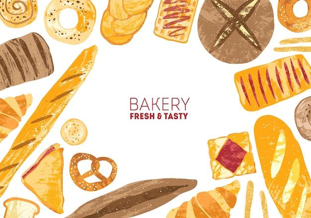 다양한 종류의 빵과 구운 제품으로 장식 된 가로 배경