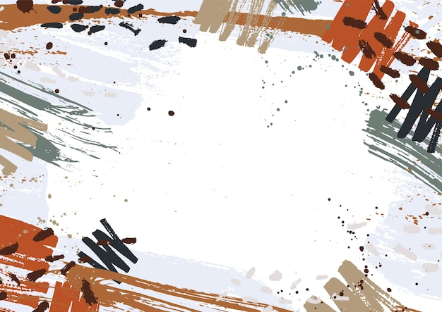 Horizontal background decorated with colorful paint stains, spots, scribble and brush strokes