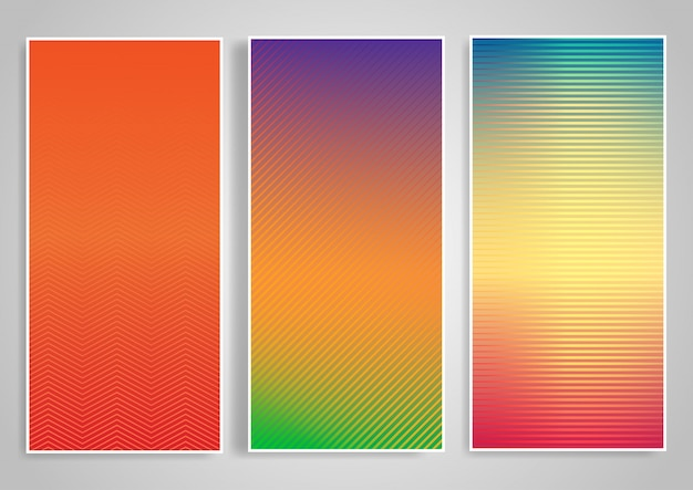 Horizontal background set with striped designs