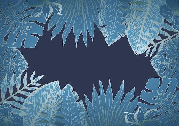 Горизонтальный фон с синими тропическими листьями