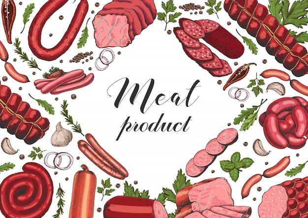Horizontal background with different meat products