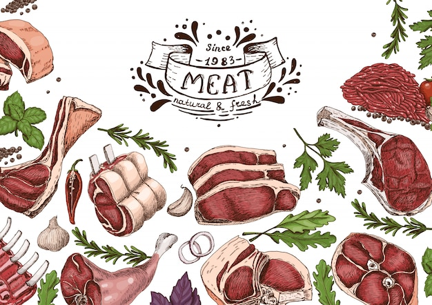 Horizontal background with meats
