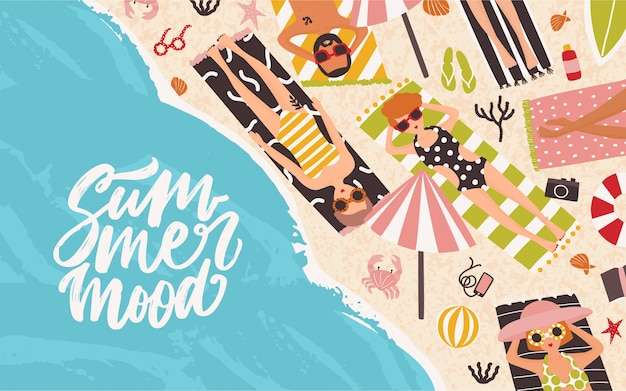 Horizontal background with men and women lying on beach, relaxing and sunbathing near sea or ocean and elegant summer mood lettering handwritten with cursive font. flat cartoon illustration.