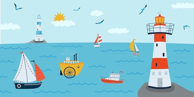 Горизонтальный фон с морским пейзажем в плоском стиле. летнее знамя с кораблями, маяком, лодкой.