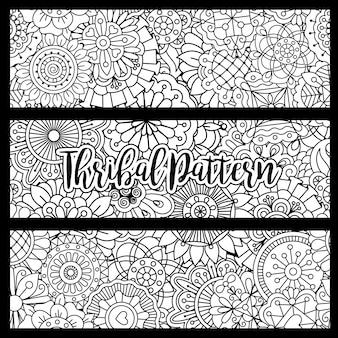 Horizontal backgrounds set with doodle style