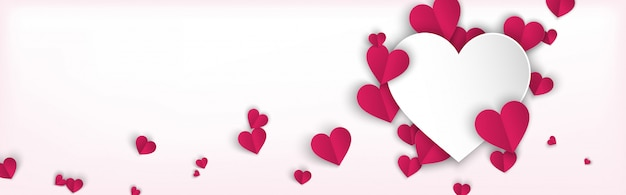 Horizontal banner background with pink hearts paper cut style