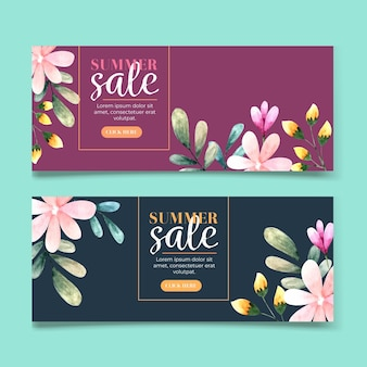 Horizontal banner collection for sale with watercolor flowers