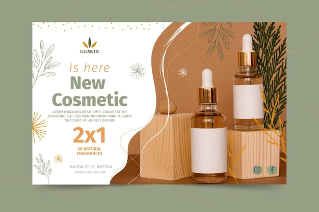 Horizontal banner for cosmetic products