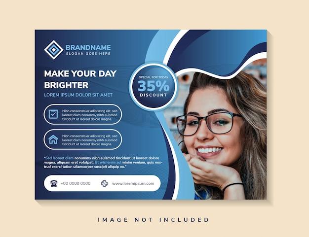 投稿用の広告テンプレートのためのあなたの一日をより明るく創造的な概念にするための水平バナー