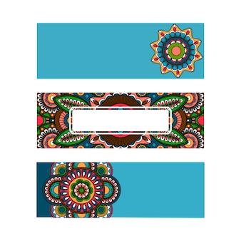 Horizontal banner mandala ornament template