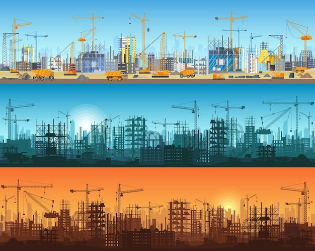 都市またはウェブサイトの建設の水平バナー。建設中の超高層ビルを備えたトラクター、グレーダー、ブルドーザー、掘削機、タワークレーン。シルエットとトレンディなフラット