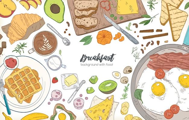 横長のバナーまたはフレーム付きの背景は、さまざまな朝食の食事と健康的な朝の食べ物(クロワッサン、目玉焼き、トースト、フルーツ)で構成されていました。レストラン広告のイラスト。