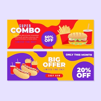 Horizontal banner pack for combo offers