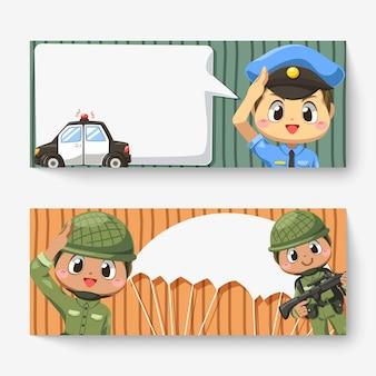 Insegna orizzontale dell'uomo di polizia con auto e fumetto, soldato dell'esercito che indossa il casco e paracadute nel personaggio dei cartoni animati, illustrazione piatta isolata