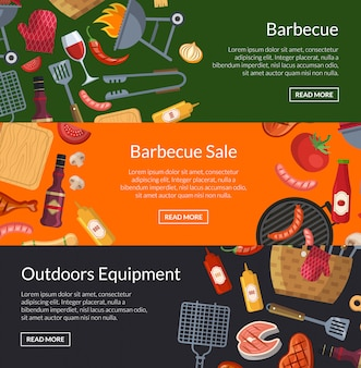 Horizontal banner poster templates for barbecue or grill cooking