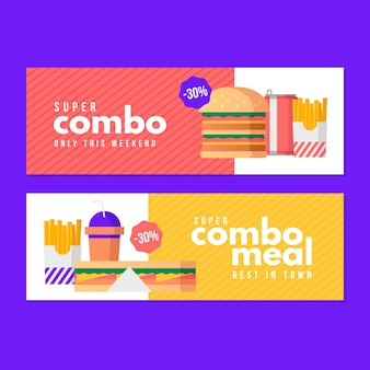 Horizontal banner set for combo offers