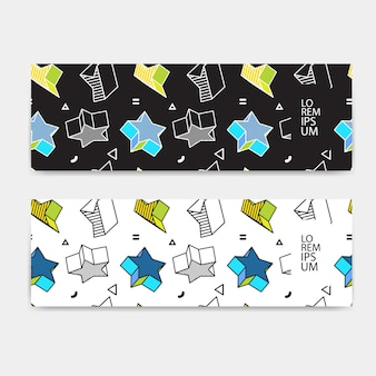 Horizontal banner set, horizontal orientation, template colorful pattern with 3d graphics in pop art style.