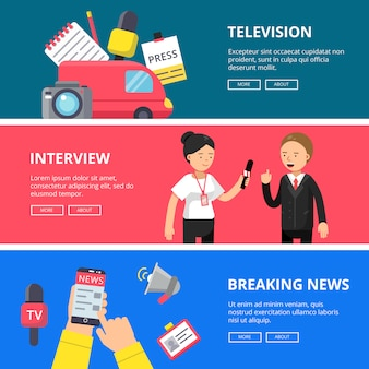 Horizontal banner set of journalism and broadcasting