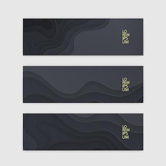 横長のバナーセット、濃い紙カットデザインのテンプレート。