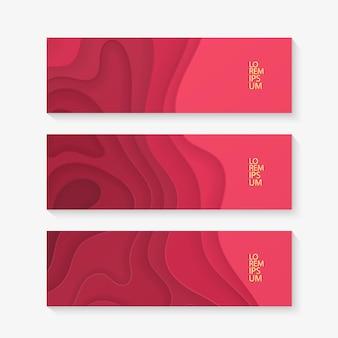 Набор горизонтальных баннеров, шаблон с красным дизайном вырезки из бумаги.
