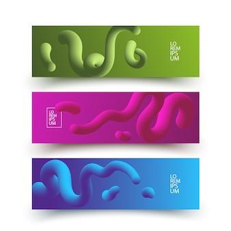 カラフルなグラデーションで抽象的な動的な流体の色で設定された水平バナー。