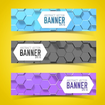 Horizontal banner set with hexagon pattern