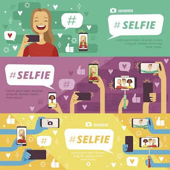 Horizontal banner set with people which making selfie photos on his smartphones