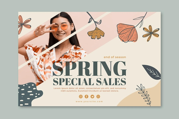 Horizontal banner for spring fashion sale