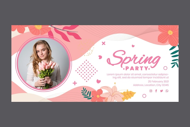 Horizontal banner for spring party with woman and flowers