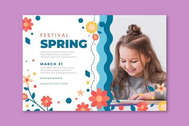 Horizontal banner for spring with kids