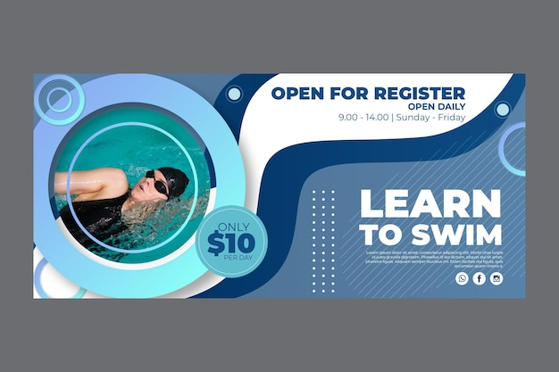 Horizontal banner for swimming lessons